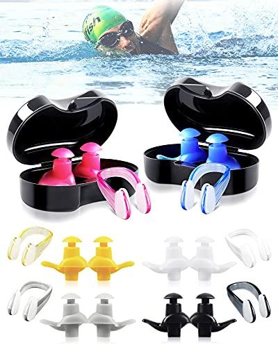 6 pares de tapones para los oídos con pinzas para la nariz para nadar, tapones de silicona suave para los oídos para nadar, reutilizables, protección para los oídos para niños y adultos
