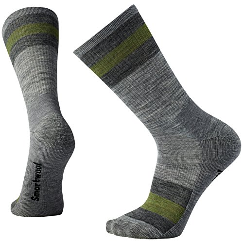 Smartwool Striped Hike Light Crew Chaussettes Homme, Gris Clair, FR : M (Taille Fabricant : M)