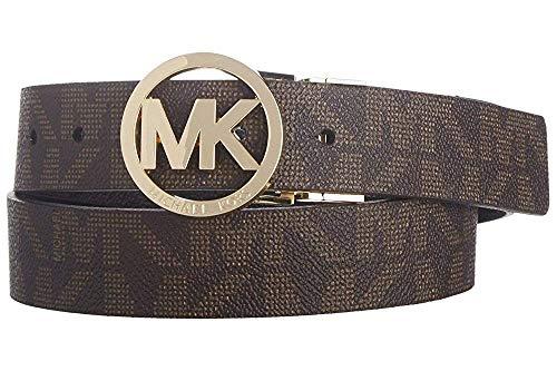 MICHAEL Michael Kors Reversible Belt with Gold-Tone MK Logo, Brown and Black, Large