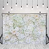 Negeek Durable Soft Polyester Fabric 7x5ft White Flower Backdrop Floral 3D Flower Wedding Party Background Photo Backdrop Bridal Shower Decoration Supplies Studio Booth