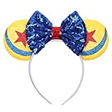 YanJie Yellow Mouse Ears Red Star Blue Sequin Bow Headband, Sequin Hair Accessories Party Costume for Girl and Women(Blue)