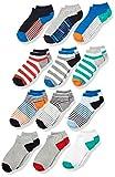 Spotted Zebra Boys' Kids Cotton Ankle Socks, 12-Pack Crazy Stripes, Medium