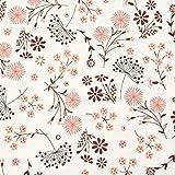 SCHÖNER LEBEN. Jersey de algodón con diseño de flores de diente de león, color blanco y rojo, 1,45 m de ancho