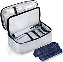 ALLCAMP Insulin Cooler Travel Bag with 4 Ice Pack and Insulation Liner for Diabetic Organize Medication (Medium)