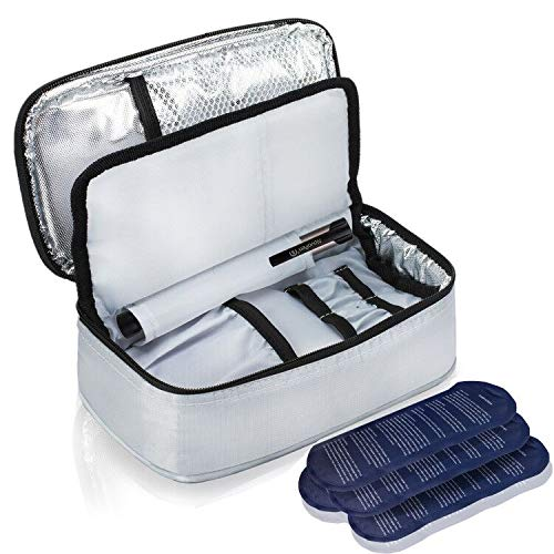 ALLCAMP Insulin Cooler Travel Bag with 4 Ice Pack and Insulation Liner for Diabetic Organize...