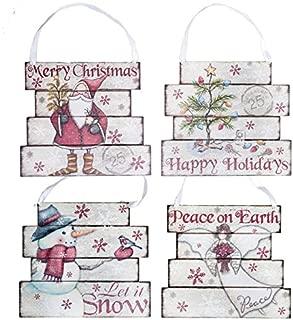 Set of 4 Large Christmas Vintage Look Postcard Slatted Wood Pallet Signs - Jute Hangers - 8 x 8 - Santa, Angel, Snowman, Christmas Tree