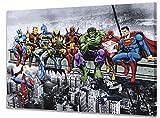 Marvel & DC Superheroes Déjeuner au Sommet d'un Gratte-Ciel avec Captain America, Iron...