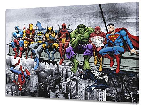 Marvel DC Skyscraper Stampa Artistica su Tela (30x40cm) - Superhéroes Almuerzo En La Parte Superior De Un Rascacielos con Captain America Iron Man, Batman Wolverine Deadpool Hulk Superman Spider-Man