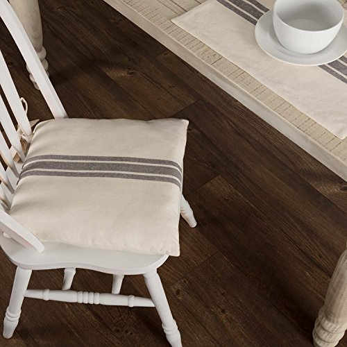 Piper Classics Market Place Gray Grain Sack Stripe Chair Pad, 15' x 15', Farmhouse Décor Seat Cushion, Cream & Grey