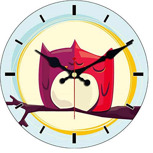 Reloj de pared de madera MINGKK, diseño de búho, reloj de pared vintage, reloj de pared, decoración del hogar, silencioso, 30 cm