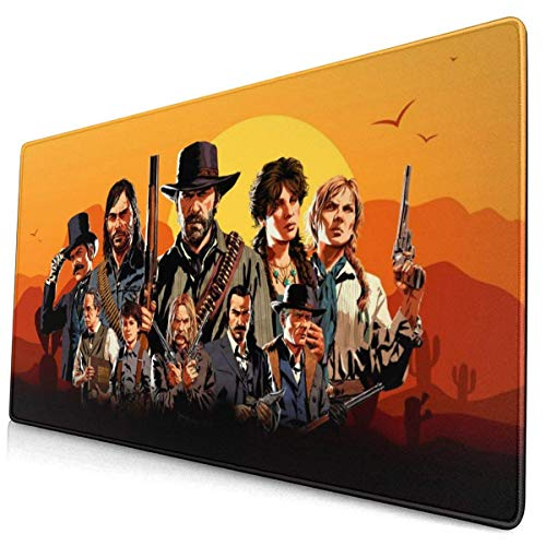 Large Gaming Mouse Pad Red Dead Red-EMP_Tion 2 Mousepad Non-Slip Rubber Printed Mousepad Rectangle Mouse Pads for Computers Laptop 30x15.7 Inch(75x40cm)-Color-17