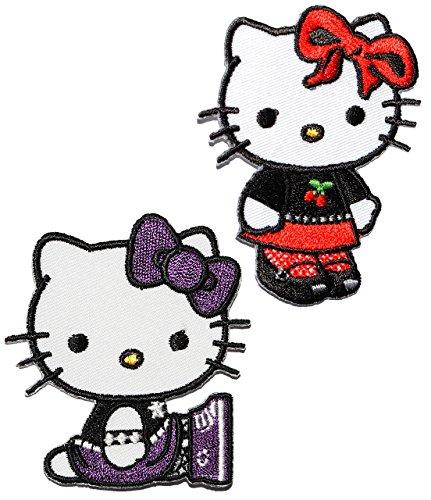 alles-meine.de GmbH 2 TLG. Set - Bügelbilder -  Hello Kitty  - 5,7 cm * 6,5 cm - Aufnäher Applikation - gestickter Flicken - Jungen & Mädchen - Katze / Kätzchen - Blumen - Büg..