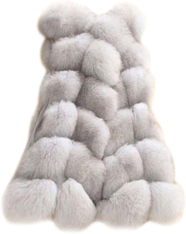 MIOIM Women Faux Fur Short Gilet Waistcoat Sleeveless Vest Outwear Coat Jacket