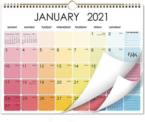Baitu New 2021 Calendar with Hanging Ring Jan 2021 Dec 2021 Can Be Hung On The Wall to Do List product image