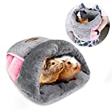 YUEPET Guinea Pig Bed Cuddle Cave Warm Fleece Cozy House Bedding Sleeping Cushion Cage Nest for Small Animal Squirrel Chinchilla Rabbit Hedgehog Cage Accessories Gray