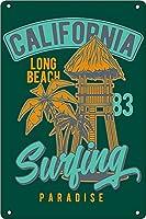 カリフォルニア州ロングビーチサーフィンパラダイス金属スズマークアンティークスズマークバー天井壁装飾目新しいマーク