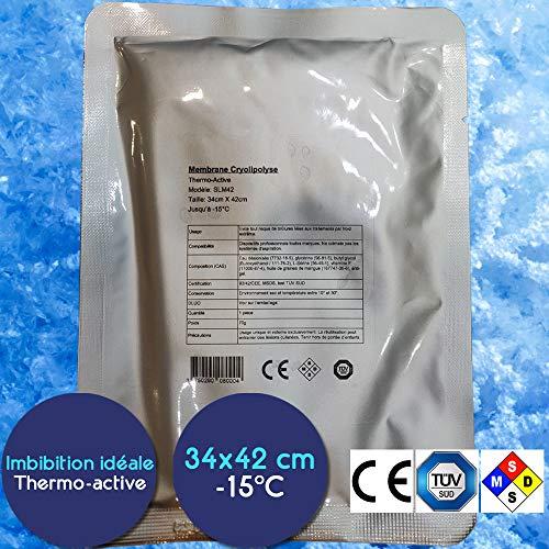 Lot 10 Membranes Cryolipolyse 34cm x 42cm - Certification 93/42/CEE - Effet Thermo-Actif - Pré-imbibées (85g) - jusqu'à -15°C compatibles toutes marques - Etiquetage en français