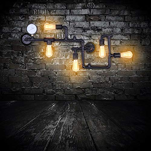 Lingkai Vintage Industrial Retro Wasserpfeife Wandlampe mit fünf Edison Lichtquellen Wall Lamp Steampunk Wandleuchte in schwarzem Finish