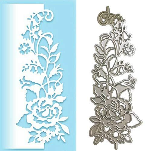 Lai-LYQ Metallschablone mit Rosenblüten-Motiv, zum Basteln, für Scrapbooks, Papierkarten, Album, Schablone – Silber