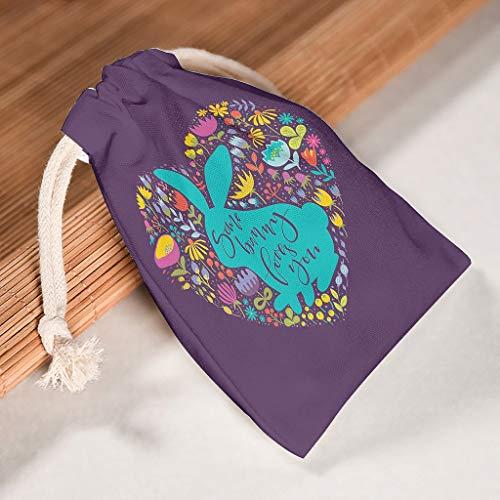 RNGIAN Ostern bunte Silhouetten von niedlichen Kaninchen und Wildblumen (1) Canvas-Tasche für Reisen & Pyjama-Partys, 6 Stück, weiß, 20*25cm