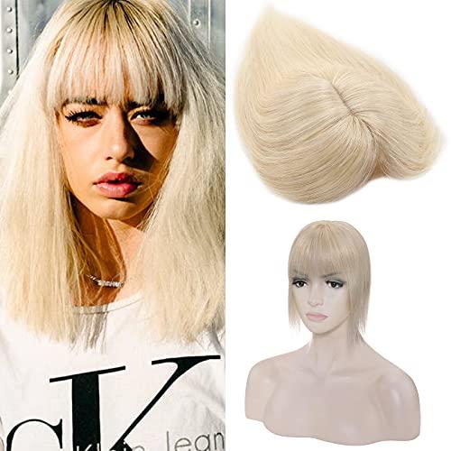 Silk-co Haarteile Echthaar Topper Extensions Echthaar Clip in Extensions Echthaar Glatt Toupet Haarverdickung Haarverlängerung 7A Human Hair für Frauen 7x13cm Basis 30cm-38g 60# Platinblond