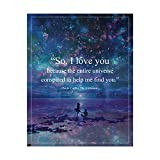 """Paulo Coelho Wall Art-""""Entire Universe Conspired to Help Me Find You' Book Quote from'The Alchemist'-8x10' Inspirational Starry Night Print-Ready to Frame. Great Gift of Love for Spouse-Partner-BFF!"""