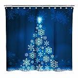 Blauer fluoreszierender Weihnachtsbaum mit dunkelblauem Hintergr& Stoff Duschvorhang Badezimmer Home Office Urlaub Wanddekoration als Wandteppich & Fotoautomaten-Hintergr&