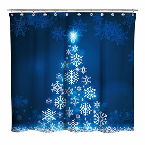 Blue Fluorescent Christmas Snowflake Tree with Dark Blue Background Fabric Shower Curtain, Bathroom Home Office Holiday Wall Decoration as Tapestry and Photo Booth Backdrop