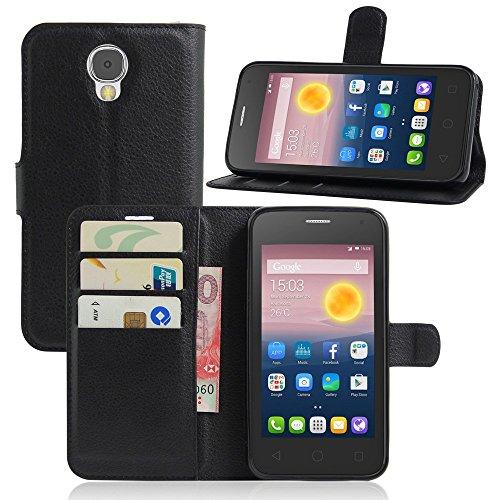 Ycloud Tasche für Alcatel Pixi 4 (5.0 Zoll) 5010D 3G Version Hülle, PU Ledertasche Flip Cover Wallet Case Handyhülle mit Stand Function Credit Card Slots Bookstyle Purse Design schwarz