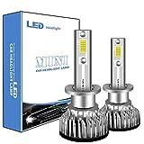 Sidaqi 2X Ampoule H1 LED, 12000LM Phares pour voitures et motos COB 6000K 100W Blanc Ampoules de rechange pour lampes halogènes et kits xénon