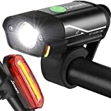 Yabife USB Rechargeable Bike Light Set, Super Bright Bicycle Headlight and Tail Light