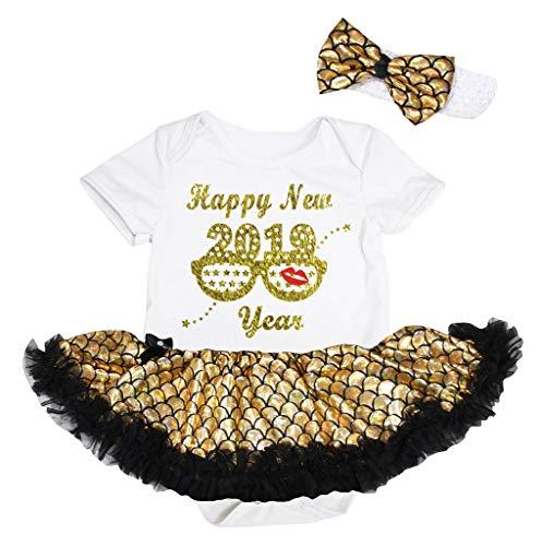 Petitebelle Happy New 2019 Robe pour bébé avec lunettes 18 m - Or - L