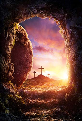 OFILA Empty Tomb Backdrop 5x7ft Easter Resurrection of Jesus Christ Photography Backdrop Crucifixion Photos Easter Church Events Backdrop Holy Lights Sunrise Religious Belief Background