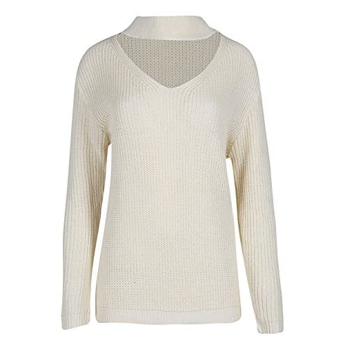 04b82f63a77b4f Fashion Star Womens Choker Neck Keyhole Cut Out Chunky Knitted Oversized  Long Sleeve Jumper Top