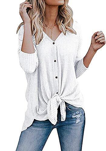 Imily Bela Womens Waffle Knit Tunic Blouse Tie Knot Henley Tops Bat Wing Plain Shirts White