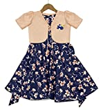 Fashion Dream Baby Girl's Floral Printed Shrug Style Midi Dress/Frock(Cream-3-4)
