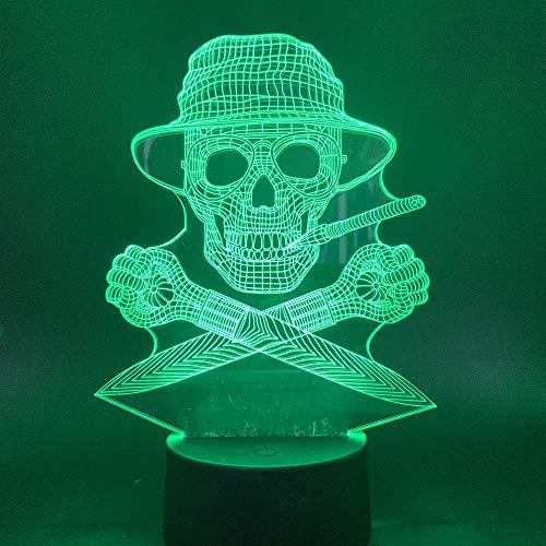 Lámpara De Ilusión 3D Luz De Noche Led Lámpara De Mesa Táctil De Siete Colores Con Gráfico De Calavera Para Hombre, Adecuada Para Decoración De Oficinas