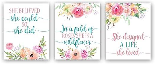 "CHDITB Unframed Botanical Flower Art Print Inspirational Quotes Wall Art,Pink Flowers Canvas Poster,Set of 3(8"" x10"" ) Flo..."