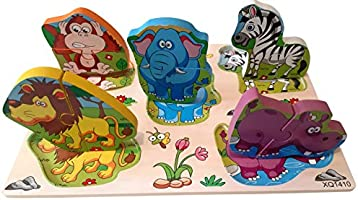 EcofriendlyBee Wooden Animal Jigsaw Puzzle Toddlers Safari Animals Kids Age 1 2 3 4 5 Year Old Boys and Girls Gifts 3D...