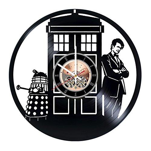choma Doctor Who Tardis Vinyl Record Wall Clock - Living Room Wall Decor - Gift Ideas for Friends, Teens, Boys - Adventure Movie Unique Art Design