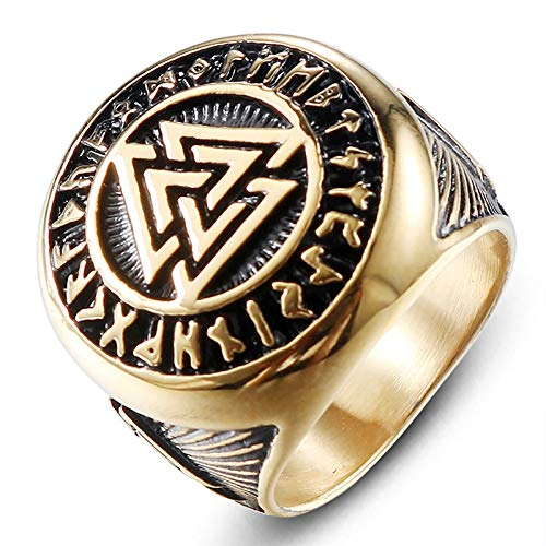 HHW Nordic Viking Odin Symbol Ring Warrior Seal Men's Stainless Steel Ring,10