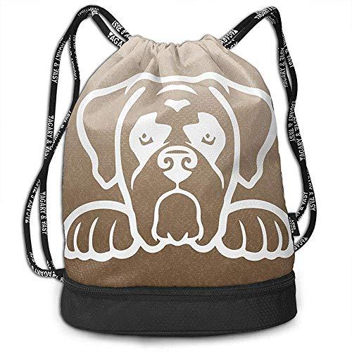 Jennifer Kiot Boxer Hund Spähen Kordelzug mit Schuhfach Multifunktionale String Rucksack Benutzerdefinierte Cinch Rucksack Rucksack Sporttasche
