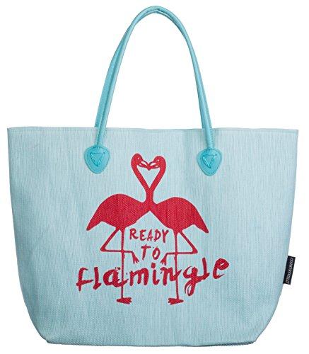 Bari BRANDSSELLER strandtas Flamingo dames schoudertas shopper zomertas drukknopsluiting grootte 53 x 16 x 37 cm