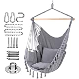 Y- STOP Hammock Chair Hanging Rope Swing-Max 330 Lbs-2 Cushions Included-Large Macrame Hanging Chair with Pocket- Quality Cotton Weave for Superior Comfort & Durability (Light Grey)