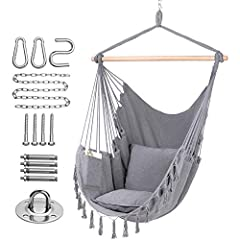 Comfortable Enjoyment: This fashionable hammock is Comfortable and durable. It will not lose cotton thread, so that the user can enjoy the Comfortable feeling of the soft sponge, and It is enough big, not like other small size of the hanging chair, y...