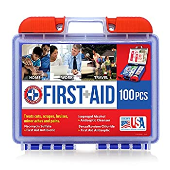 Be Smart Get Prepared 100 Piece First Aid Kit  Clean Treat Protect Minor Cuts Scrapes Home Office Car School Business Travel Emergency Survival Hunting Outdoor Camping & Sports