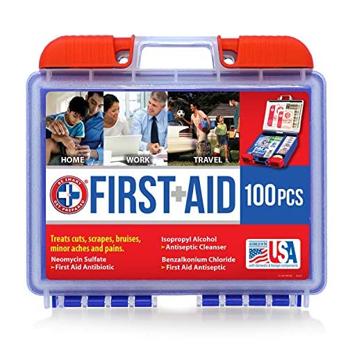 Be Smart Get Prepared 100 Piece First Aid Kit: Clean, Treat, Protect Minor Cuts, Scrapes. Home, Office, Car, School… 3