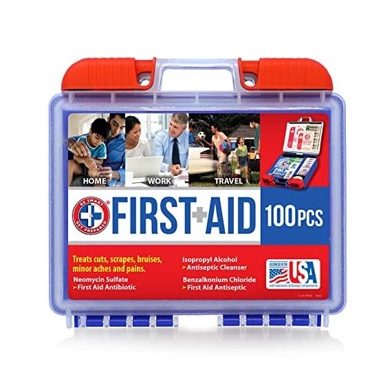 Be Smart Get Prepared 10HBC01082 100Piece First Aid Kit, Clean, Treat & Protect Most Injuries With The Kit that is great… 1 Manufactured by the #1 leading manufacturer of First Aid Kits in the USA. 100 pieces of comprehensive first aid treatment products. This Kit meets United States FDA Regulatory Standards as a Medical Device. Ideal for most businesses and perfect for family use at home or travel. Fully organized interior compartments provides quick access. The rugged, sturdy, high density plastic case is impact resistant