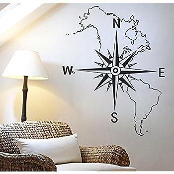 Vinilo Adhesivo Rosa de los Vientos Mapa .en Negro para Decoracion Pared o Cristal dormitorios Salones caravanas escaparates, Habitaciones. Acabado 75 X 60cm CHPYHOME: Amazon.es: Coche y moto