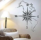 Vinilo adhesivo rosa de los vientos mapa. En negro para decoracion pared o cristal dormitorios salones caravanas escaparates, habitaciones. Acabado 75 x 60cm chpyhome